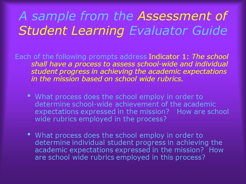 A sample from the Assessment of Student Learning Evaluator Guide Each of the following prompts address Indicator 1: The school shall have a process to assess school-wide and individual student progress in achieving the academic expectations in the mission based on school wide rubrics.