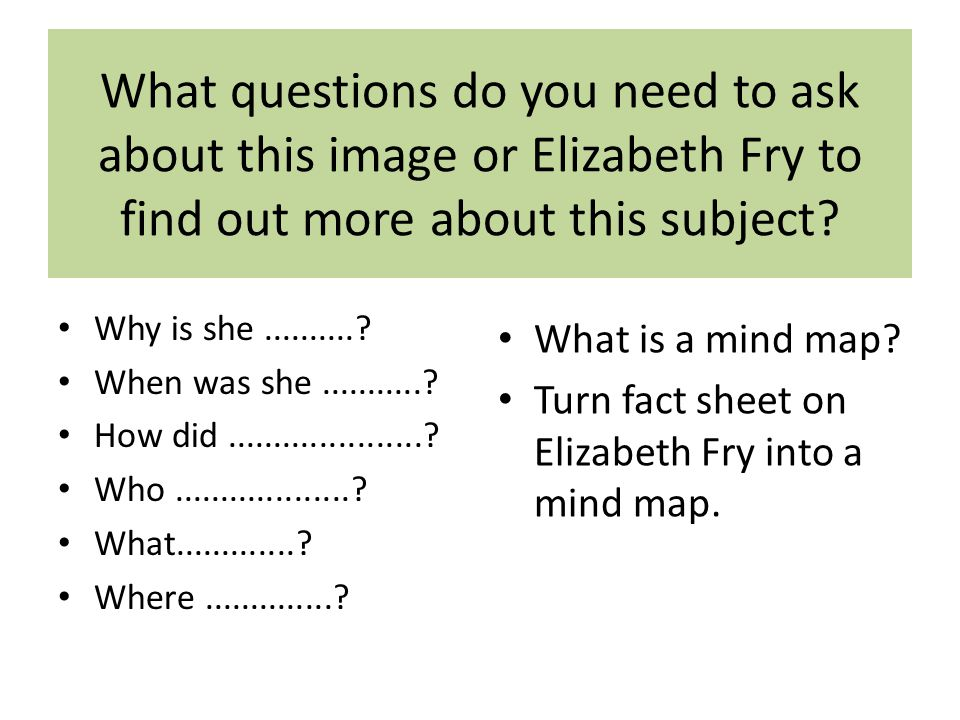 What questions do you need to ask about this image or Elizabeth Fry to find out more about this subject.