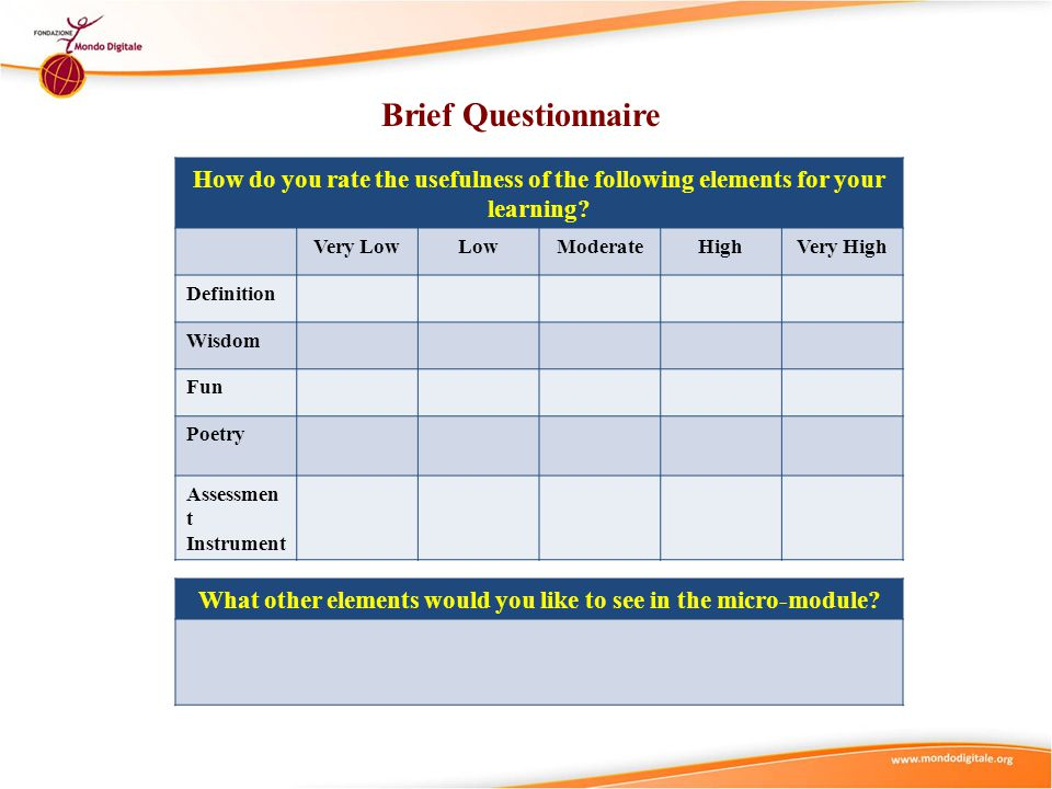 Brief Questionnaire How do you rate the usefulness of the following elements for your learning? Very LowLowModerateHighVery High Definition Wisdom Fun