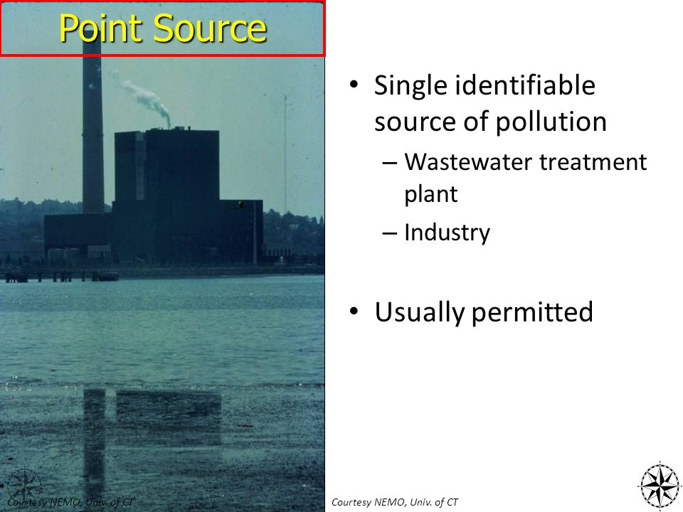 Single identifiable source of pollution – Wastewater treatment plant – Industry Usually permitted Point Source Courtesy NEMO, Univ. of CT
