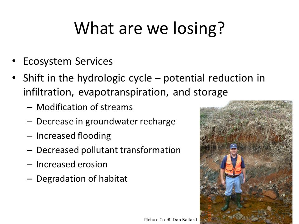 What are we losing? Ecosystem Services Shift in the hydrologic cycle – potential reduction in infiltration, evapotranspiration, and storage – Modifica