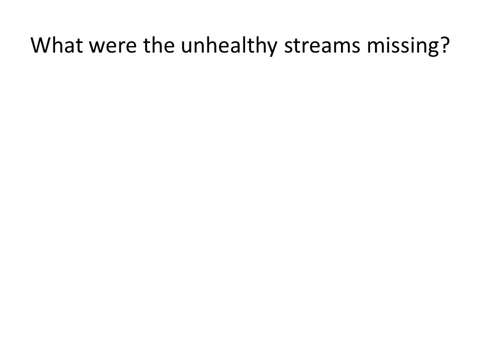 What were the unhealthy streams missing?