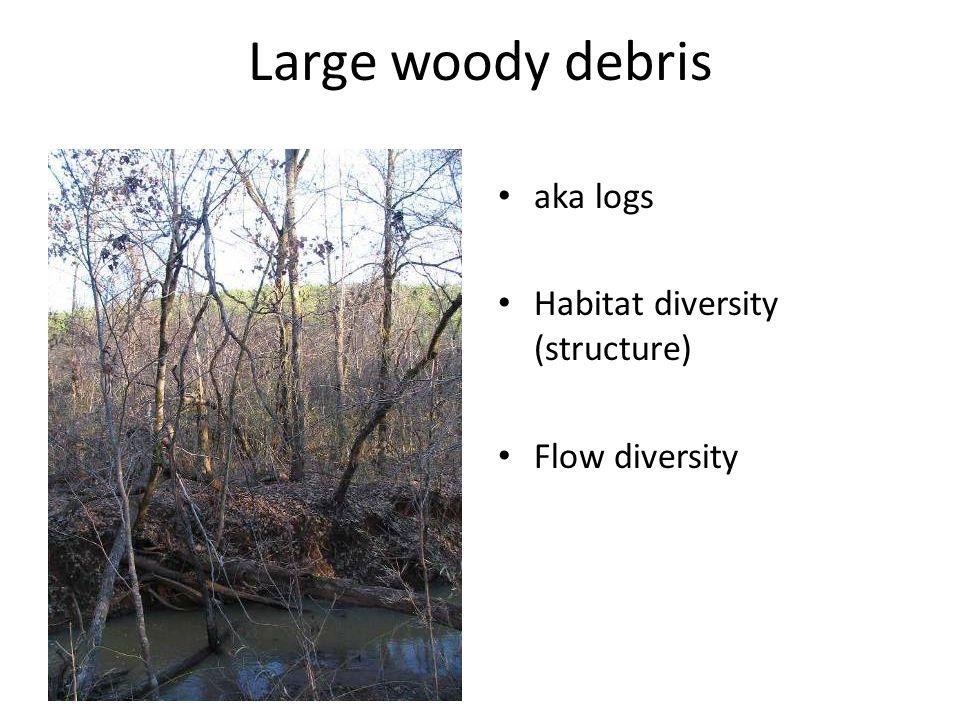 aka logs Habitat diversity (structure) Flow diversity Large woody debris