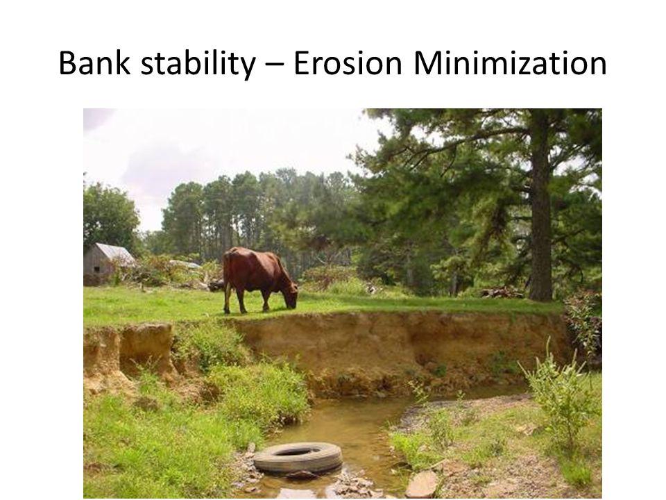 Bank stability – Erosion Minimization