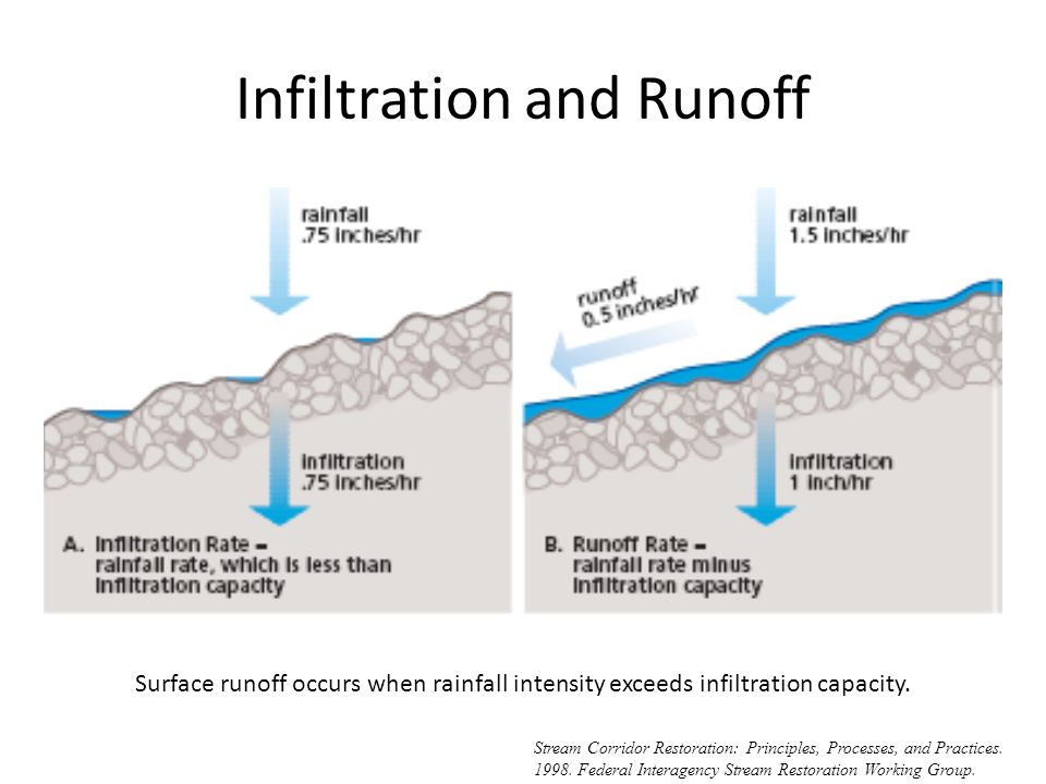 Infiltration and Runoff Surface runoff occurs when rainfall intensity exceeds infiltration capacity. Stream Corridor Restoration: Principles, Processe