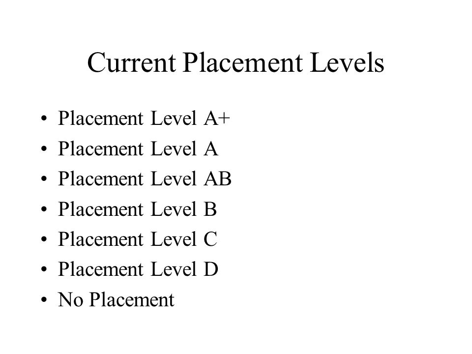 Distribution of Students among Placement Levels This is based on 3708 freshman admitted in Fall 2003.