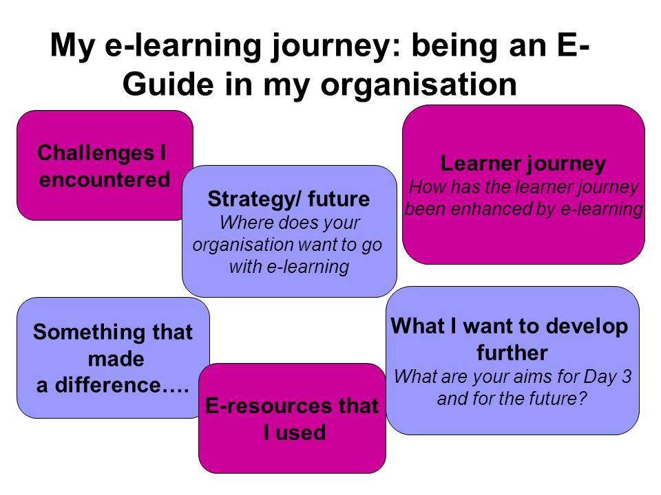 My e-learning journey: being an E- Guide in my organisation Challenges I encountered Something that made a difference…. What I want to develop further