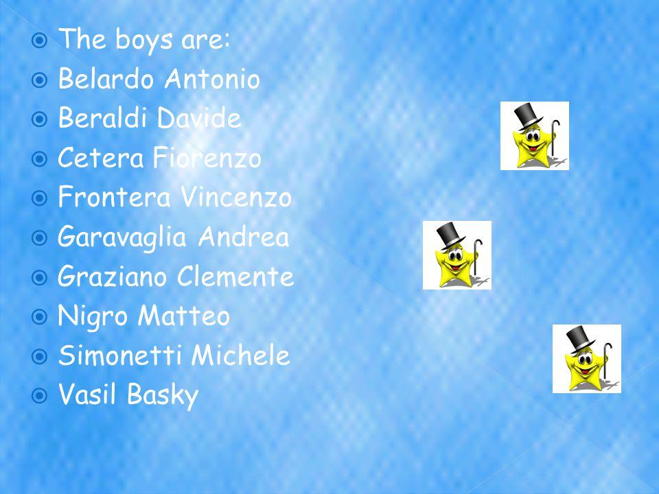  The boys are:  Belardo Antonio  Beraldi Davide  Cetera Fiorenzo  Frontera Vincenzo  Garavaglia Andrea  Graziano Clemente  Nigro Matteo  Simonetti Michele  Vasil Basky