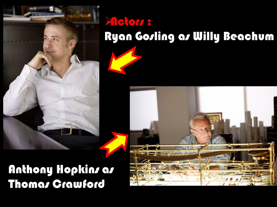  Actors : Ryan Gosling as Willy Beachum Anthony Hopkins as Thomas Crawford