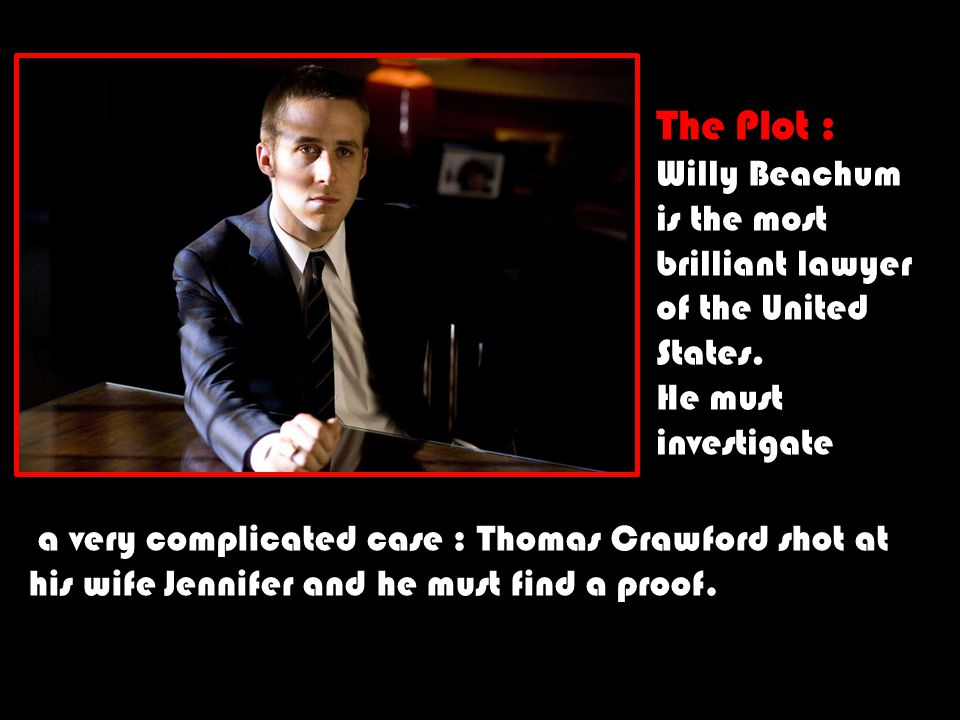 The Plot : Willy Beachum is the most brilliant lawyer of the United States. He must investigate a very complicated case : Thomas Crawford shot at his