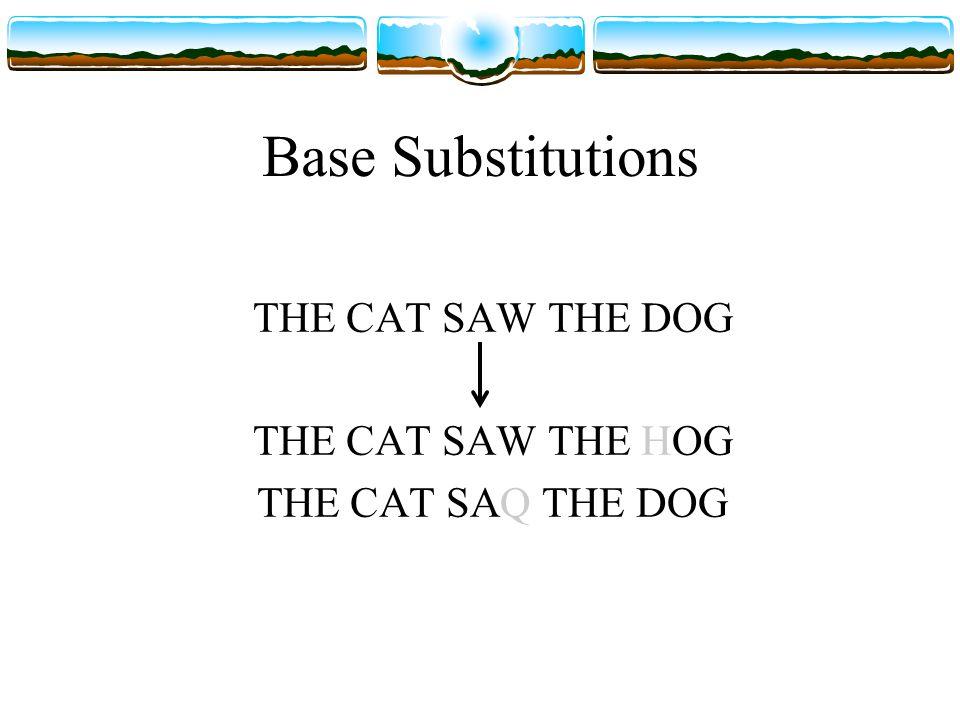 Frameshift: Deletion THE CAT SAW THE DOG THE ATS AWT HED OG C