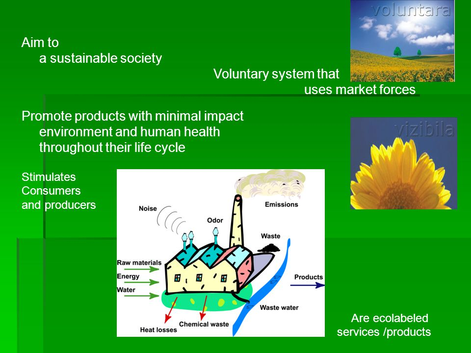 Aim to a sustainable society Voluntary system that uses market forces Promote products with minimal impact environment and human health throughout their life cycle Stimulates Consumers and producers Are ecolabeled services /products