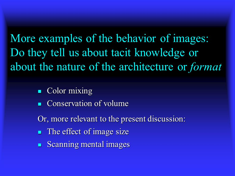 Why did things unfold the way they did in your imagination? Was it because of the format of your image or your cognitive architecture? Or because of w