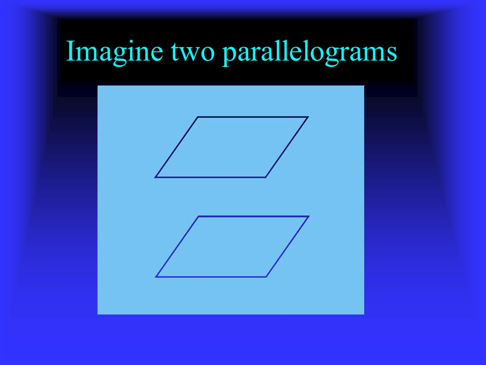 Imagine two parallelograms
