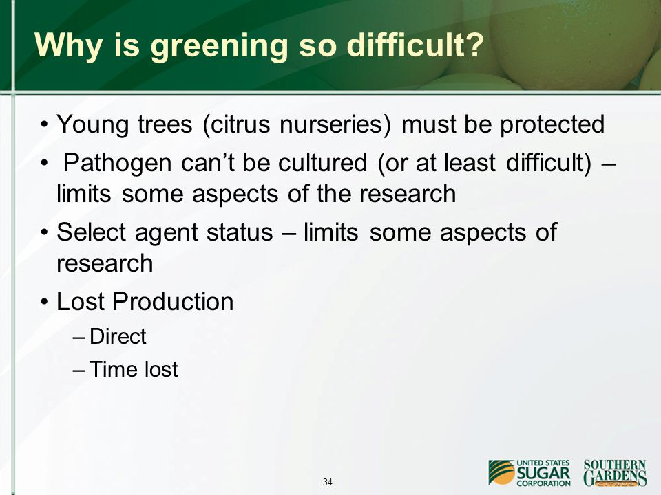 34 Why is greening so difficult.