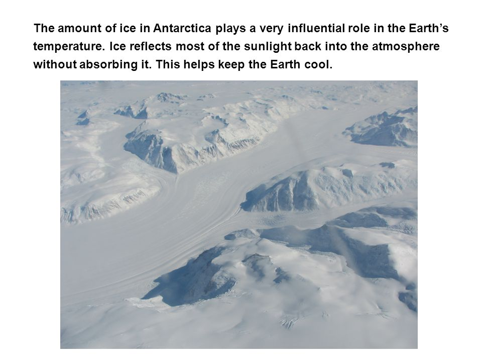 The amount of ice in Antarctica plays a very influential role in the Earth's temperature. Ice reflects most of the sunlight back into the atmosphere w