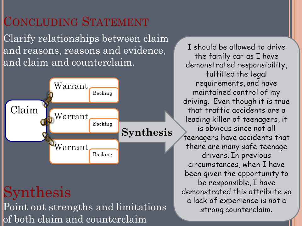8/10/2011 14 C ONCLUDING S TATEMENT Synthesis Point out strengths and limitations of both claim and counterclaim I should be allowed to drive the fami