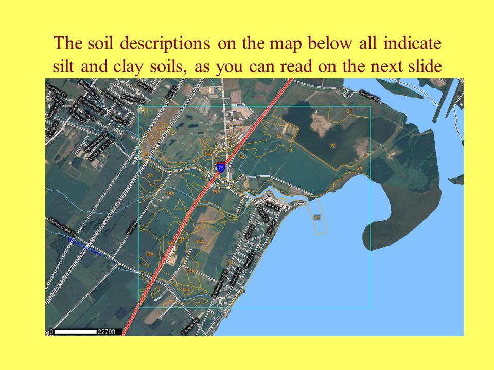 The soil descriptions on the map below all indicate silt and clay soils, as you can read on the next slide