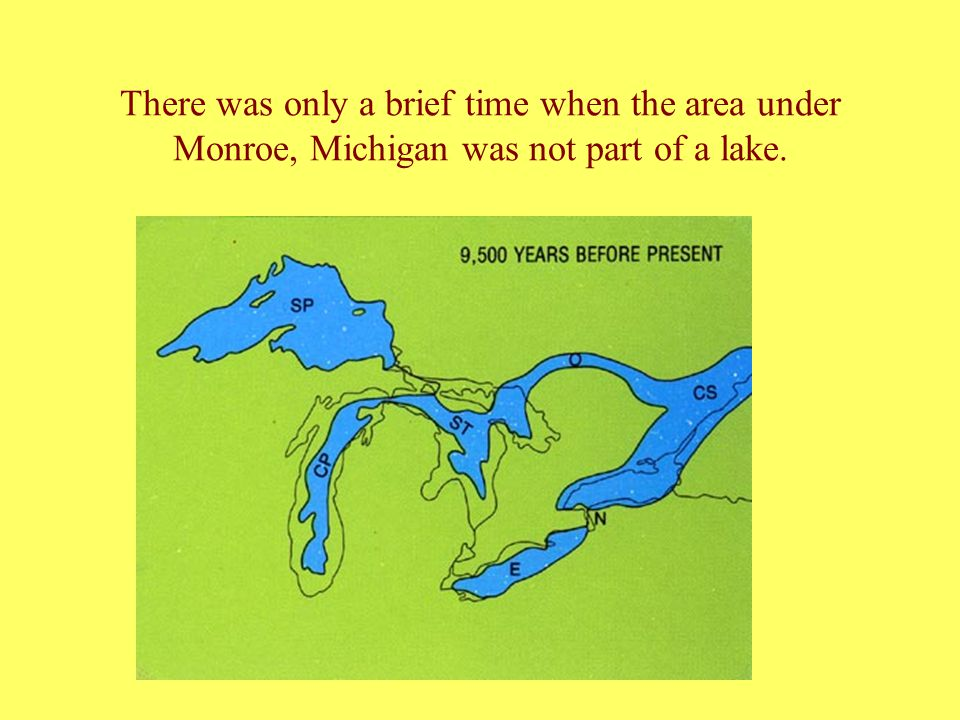 The present day map of the area shows the outline of the old lake shore which goes into Ohio as well.