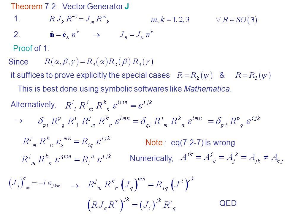 Theorem 7.2: Vector Generator J 1.2.