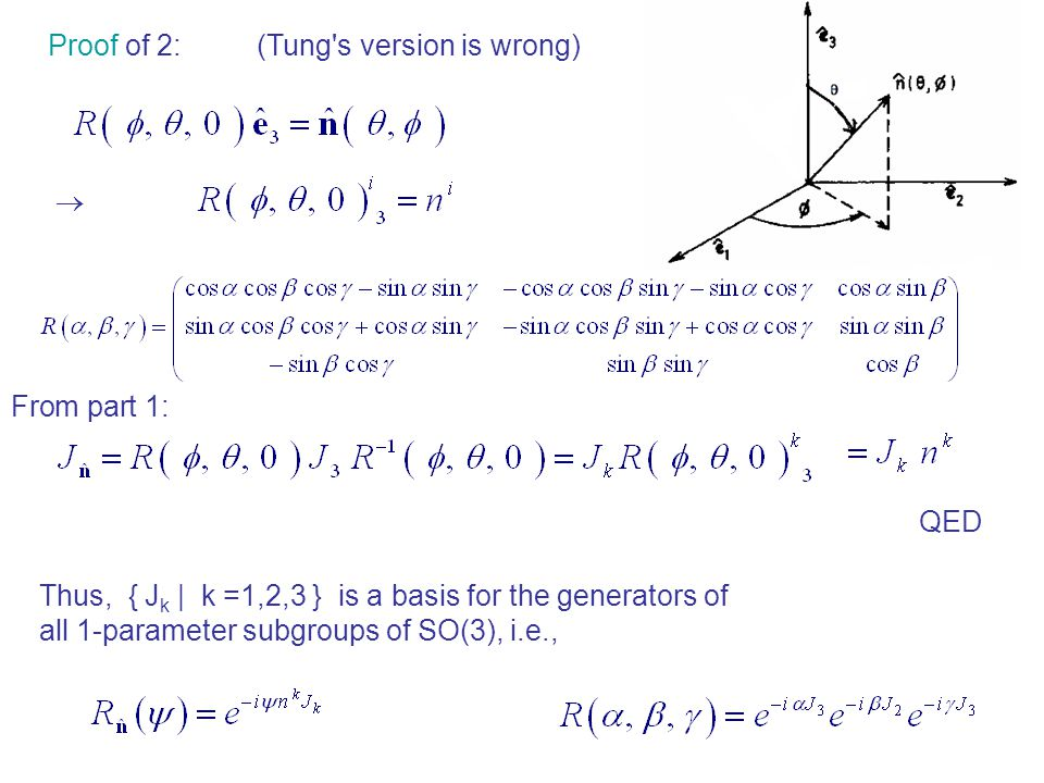 Proof of 2:(Tung s version is wrong)  From part 1: QED Thus, { J k | k =1,2,3 } is a basis for the generators of all 1-parameter subgroups of SO(3), i.e.,