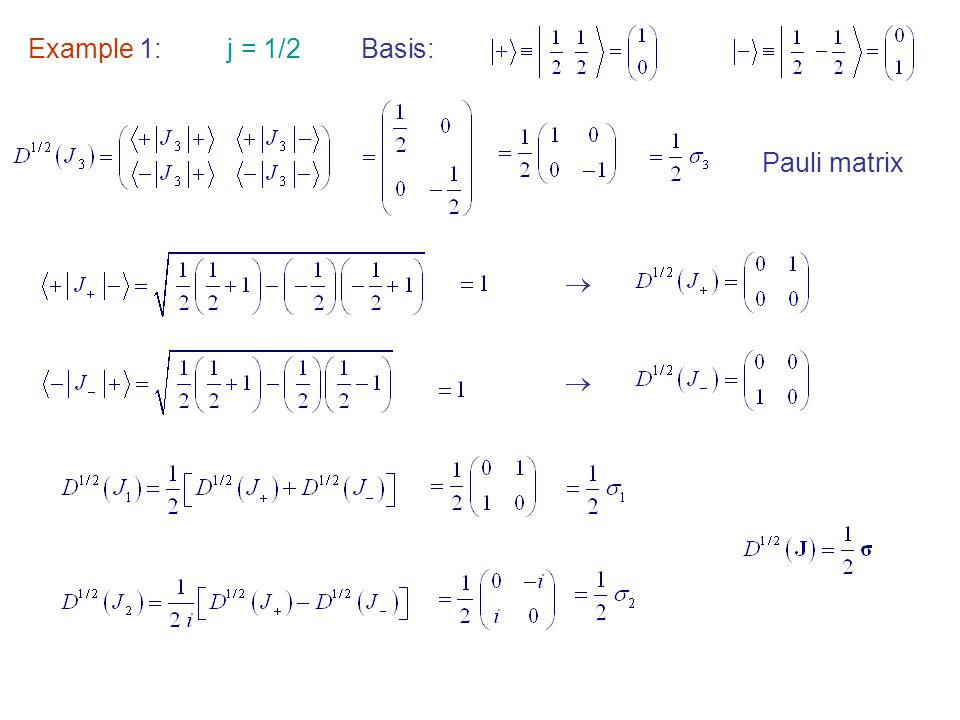 Example 1: j = 1/2Basis:   Pauli matrix