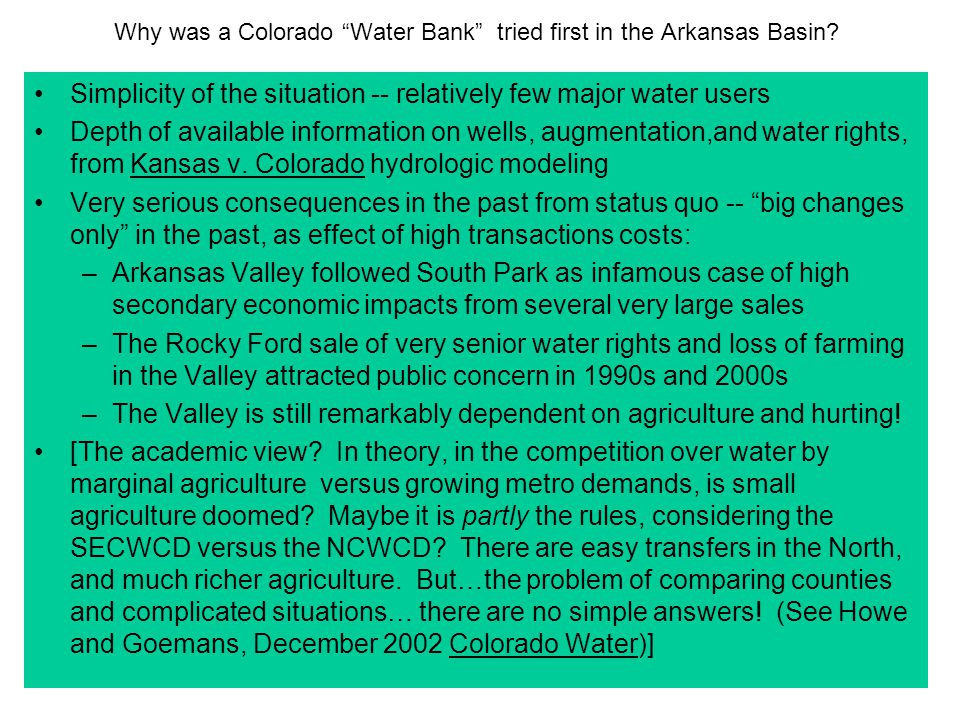 Why was a Colorado Water Bank tried first in the Arkansas Basin.