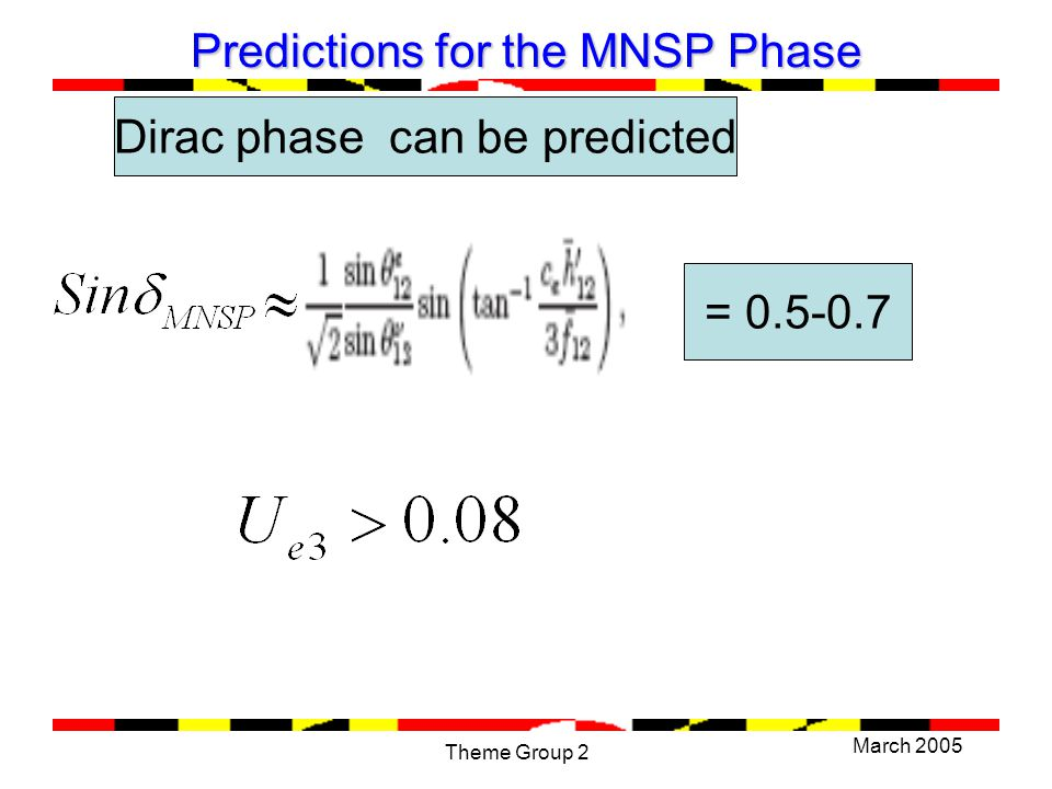 March 2005 Theme Group 2 Predictions for the MNSP Phase = 0.5-0.7 Dirac phase can be predicted