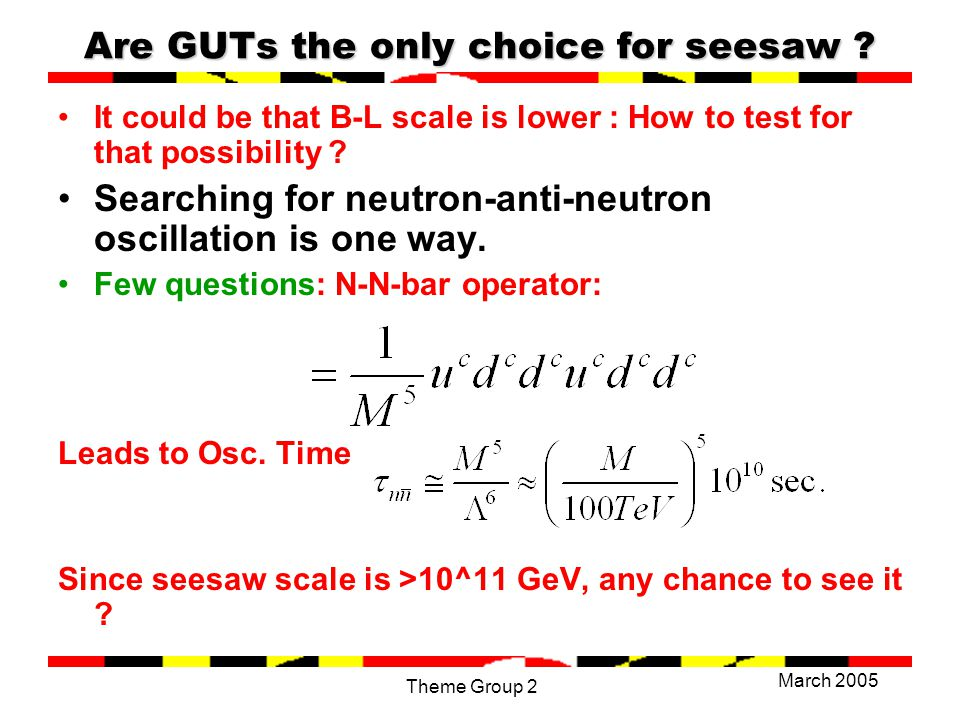 March 2005 Theme Group 2 Are GUTs the only choice for seesaw .