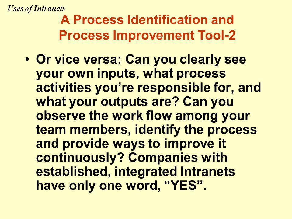 Or vice versa: Can you clearly see your own inputs, what process activities you're responsible for, and what your outputs are.