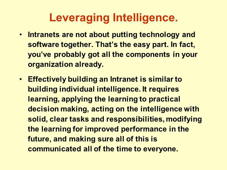 Leveraging Intelligence. Intranets are not about putting technology and software together.