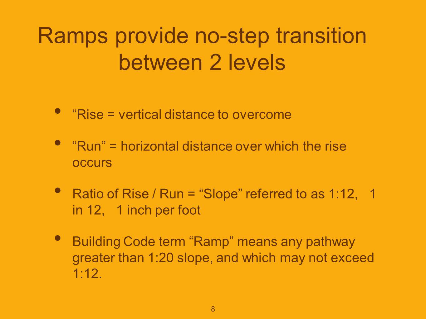 9 Required elements of a ramp [ Sec 405, ANSI A117.1-2003 ] Landings at both top and bottom Cross Slope Floor surfaces Clear Width Maximum Rise Handrails Edge protection