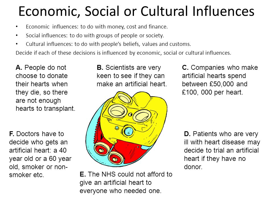 Economic, Social or Cultural Influences Economic influences: to do with money, cost and finance. Social influences: to do with groups of people or soc