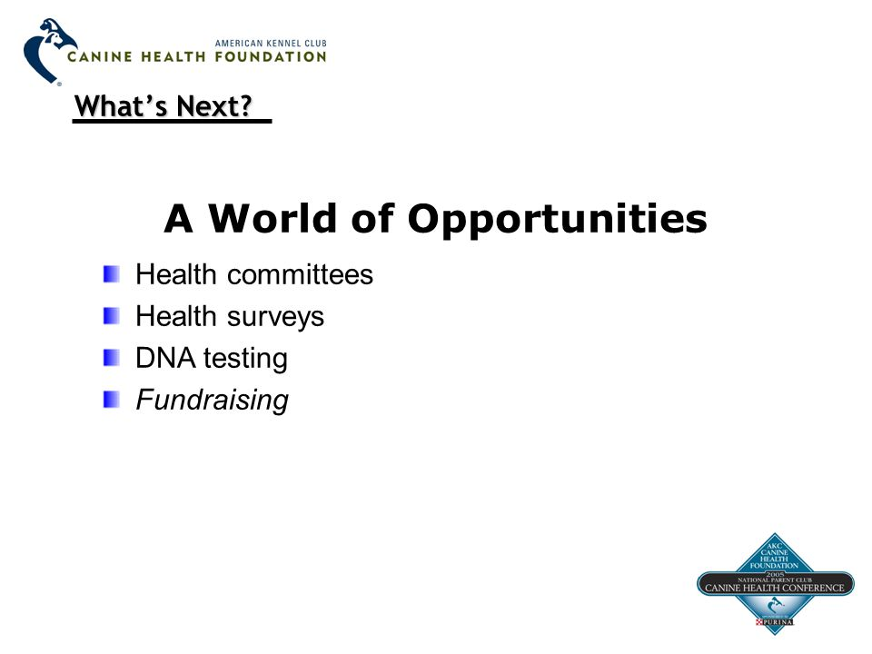 What's Next? A World of Opportunities Health committees Health surveys DNA testing Fundraising