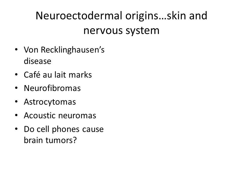 Neuroectodermal origins…skin and nervous system Von Recklinghausen's disease Café au lait marks Neurofibromas Astrocytomas Acoustic neuromas Do cell p