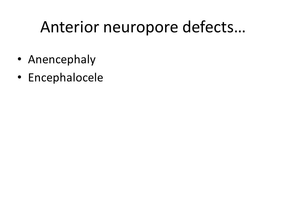 Posterior neuropore defects…spina bifida syndromes Myelomeningocele Meningocele Spina bifida occulta Dermal sinus tract Rachischisis