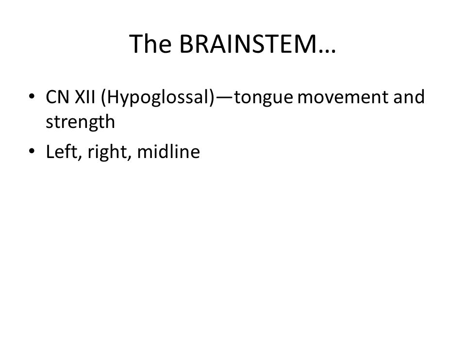 The BRAINSTEM… CN XII (Hypoglossal)—tongue movement and strength Left, right, midline