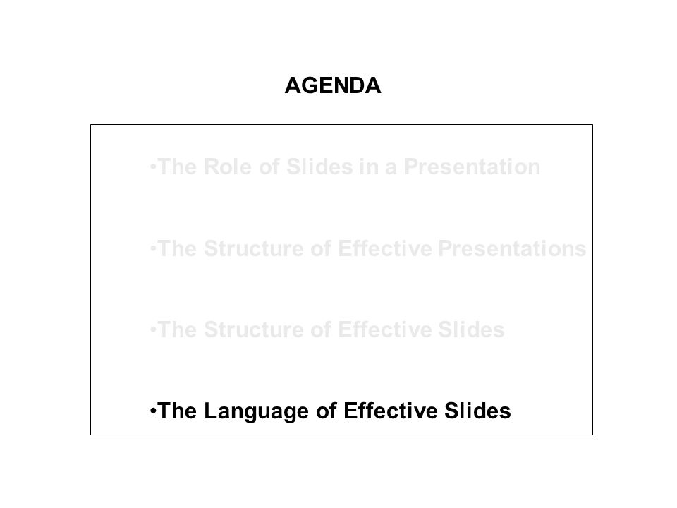 AGENDA The Role of Slides in a Presentation The Structure of Effective Presentations The Structure of Effective Slides The Language of Effective Slide