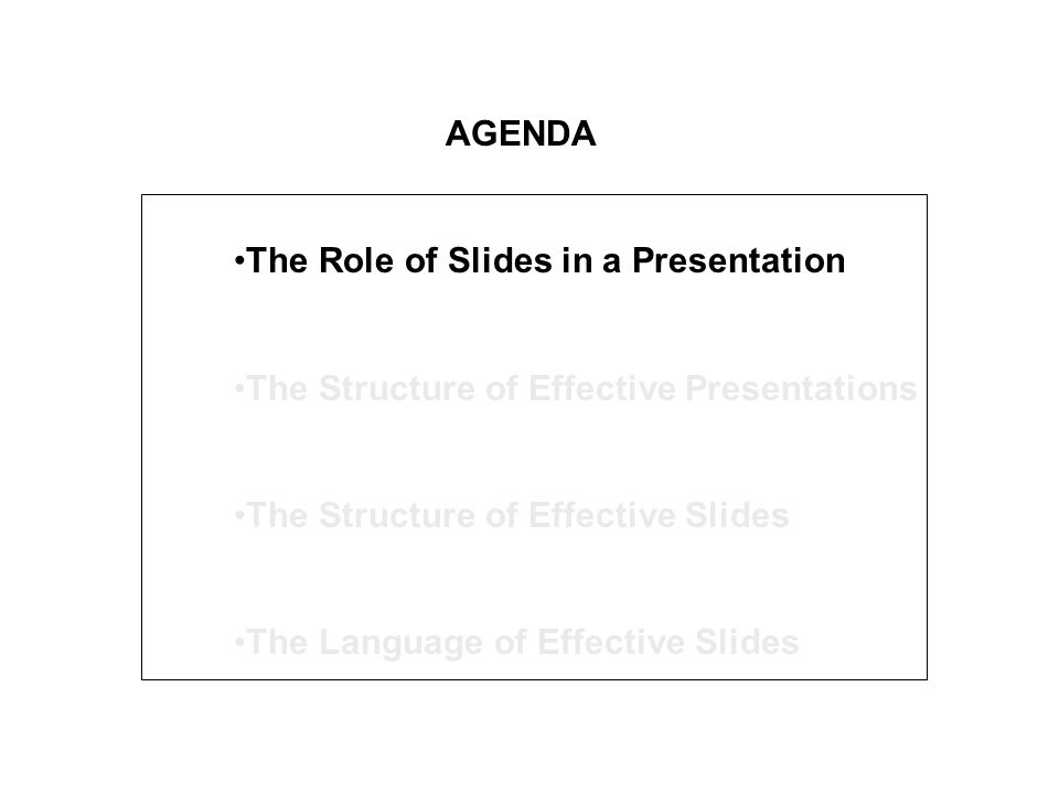 The Title Makes The Point Of The Slide Do use it to make the point of the slide, your value-added anticipate the body of the slide - words predict concepts in each main sub-point - words at end of the title most emphatic connect that slide to the previous one - begin it with words that connect it to the previous slide Don't use it to name a general topic
