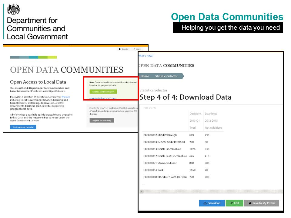 Open Data Communities Helping you get the data you need