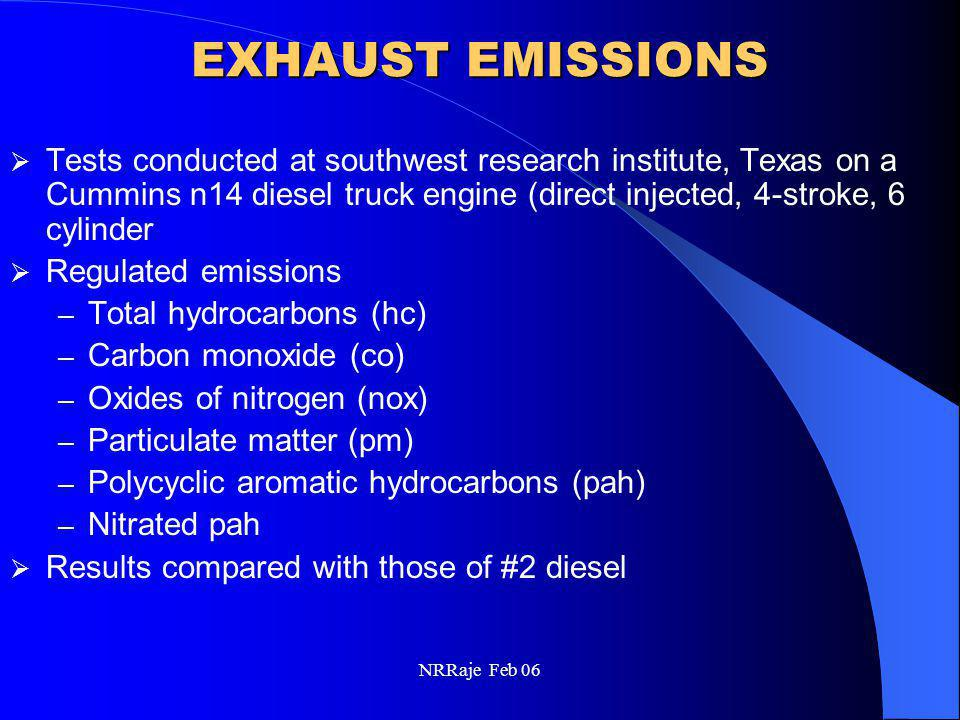 NRRaje Feb 06 EXHAUST EMISSIONS  Tests conducted at southwest research institute, Texas on a Cummins n14 diesel truck engine (direct injected, 4-stro