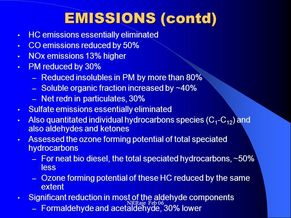 NRRaje Feb 06 EMISSIONS (contd) HC emissions essentially eliminated CO emissions reduced by 50% NOx emissions 13% higher PM reduced by 30% – Reduced i