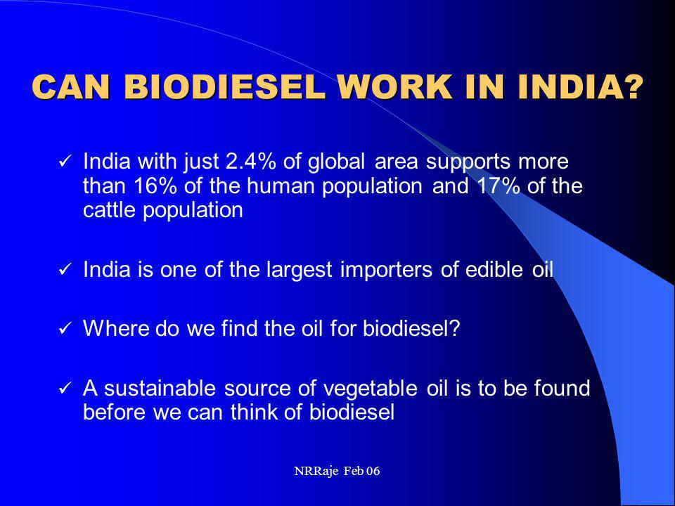 NRRaje Feb 06 CAN BIODIESEL WORK IN INDIA? India with just 2.4% of global area supports more than 16% of the human population and 17% of the cattle po
