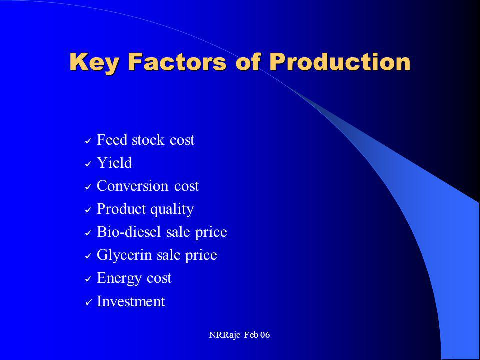 NRRaje Feb 06 Key Factors of Production Feed stock cost Yield Conversion cost Product quality Bio-diesel sale price Glycerin sale price Energy cost In