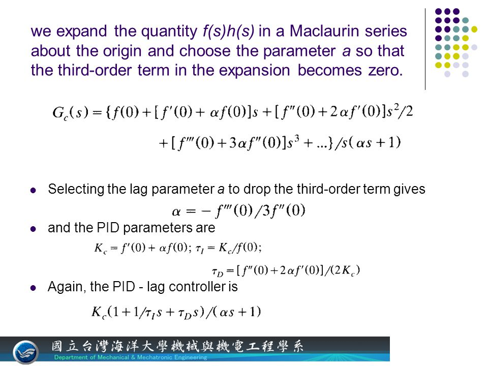 we expand the quantity f(s)h(s) in a Maclaurin series about the origin and choose the parameter a so that the third-order term in the expansion becomes zero.