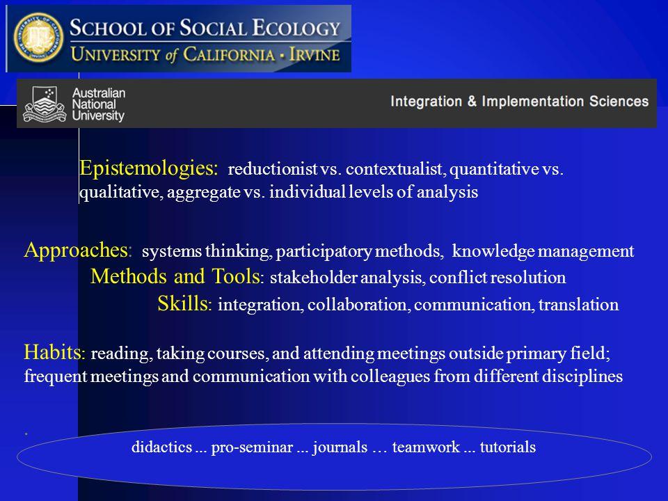 didactics... pro-seminar... journals … teamwork...