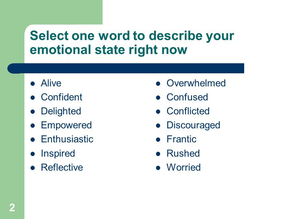 2 Select one word to describe your emotional state right now Alive Confident Delighted Empowered Enthusiastic Inspired Reflective Overwhelmed Confused Conflicted Discouraged Frantic Rushed Worried