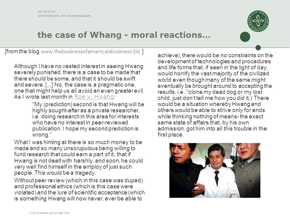 the case of Whang - moral reactions… [from the blog www.thebusinessofamericaisbusiness.biz ] Although I have no vested interest in seeing Hwang severely punished, there is a case to be made that there should be some, and that it should be swift and severe.