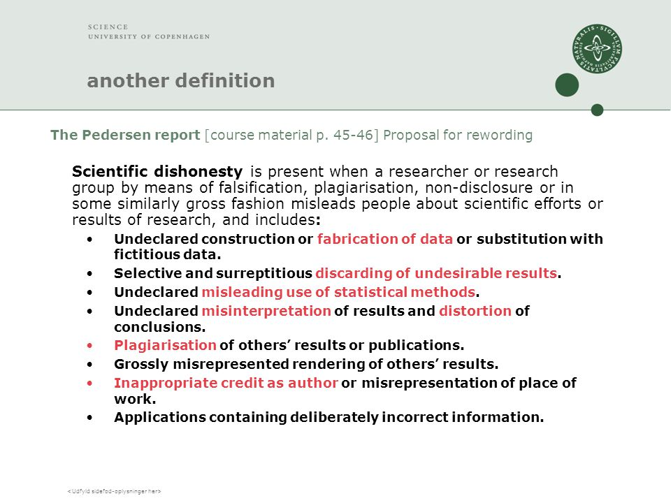 another definition The Pedersen report [course material p.