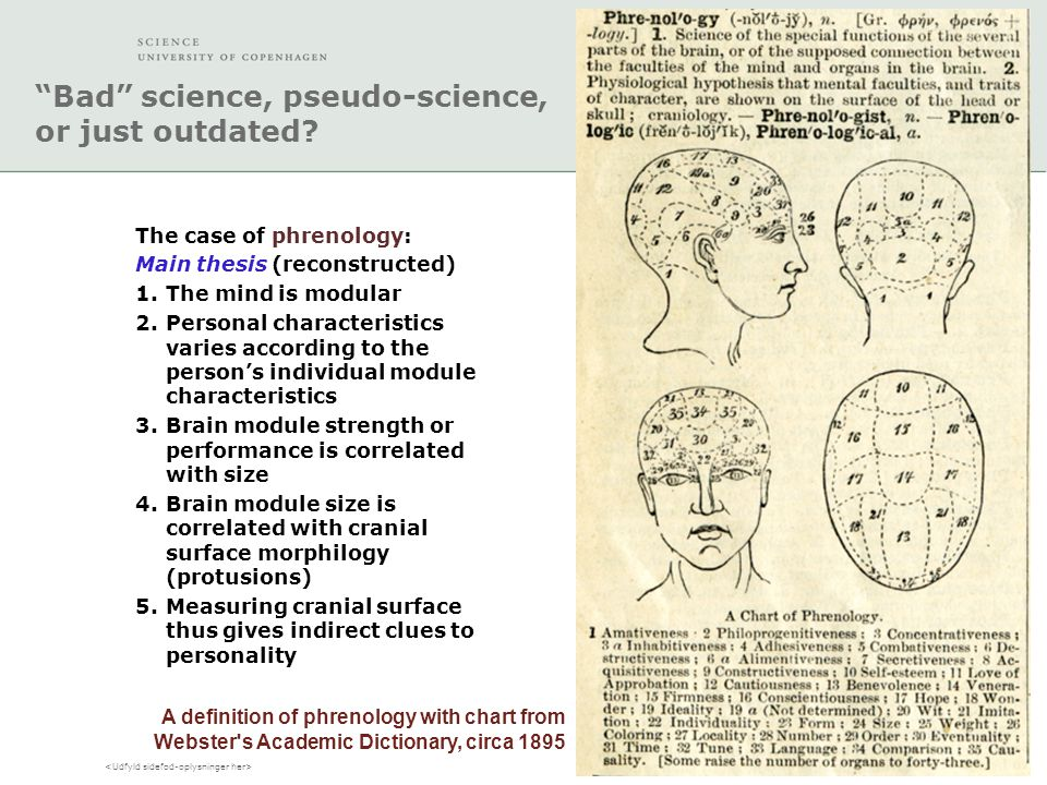 """Bad"" science, pseudo-science, or just outdated? The case of phrenology: Main thesis (reconstructed) 1.The mind is modular 2.Personal characteristics"